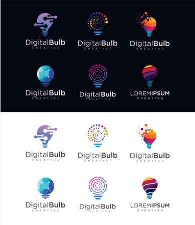 Set Of bulb tech logo icon . Idea creative light bulb logo . Bulb digital logo technology Idea .Bulb Logo Design Colorfull .