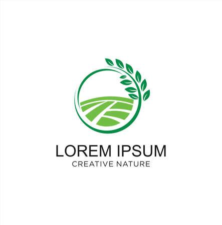 Round landscape nature logo Design Vector Stock . Landscape Garden Logo Design agriculture. Eco farm logo Design