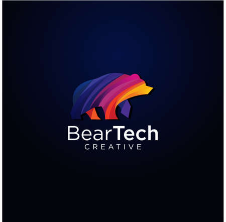 Polar bear Media Logo Colorful Modern Design Template, Grizzly Bear Tech Logo Design Illustration.