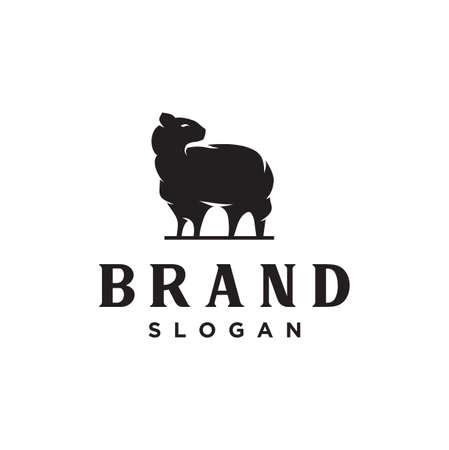 Merino wool Logo Nature icon. Vector sheep logo wool template. Goat Logo Angora Vintage Retro Hipster Logo