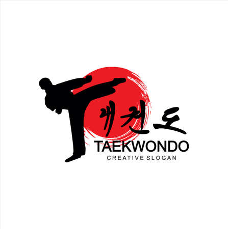 Taekwondo logo fight Design Vector . Karate Logo Design . Extream Sport Logo Design