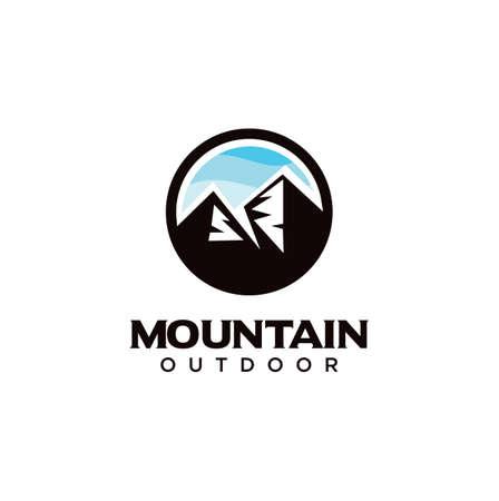 Alpine Mountain Adventure logo . Mountain Outdoor Logo Design ,Hiking, Camping, Expedition And Outdoor Adventure. Exploring Nature