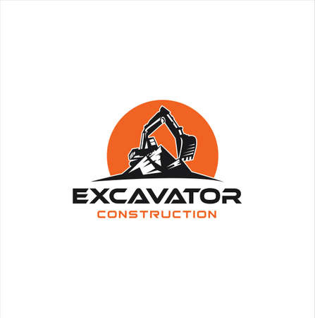 Excavator logo template vector illustration. Heavy equipment logo vector for construction company. Creative excavator and Backhoe logo design illustration .