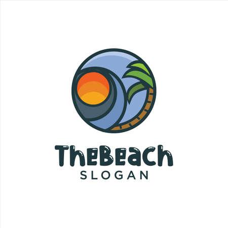 Sun Beach Logo Design Vector. Beach landscape Palm Tree Logo Design Nature. Holiday Logo Design Badge Concept. Vettoriali