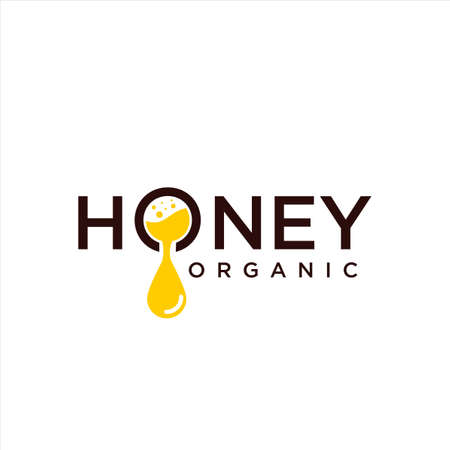 Dripping honey Logo Design Template. Honeycomb Logo Design Nature Organic. Beekeeping logo design with abstract bee. Bee logo Icon Symbol Vector Template. Beehive Icon