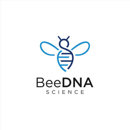 DNA Bee Logo Design Genetic Symbol. Animal DNA Logo Diagnostics Science Vettoriali