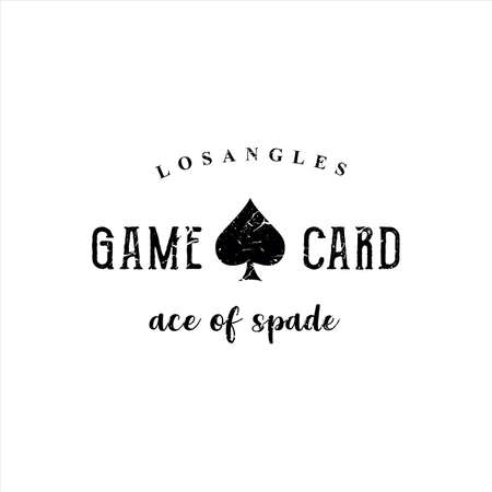Playing card Game Logo Design Template. Ace of spades Logo Grunge Hipster Retro. Spade Logo Vector Silhouette. Blackjack Logo Online Casino Mobile Stock Vector Illustration