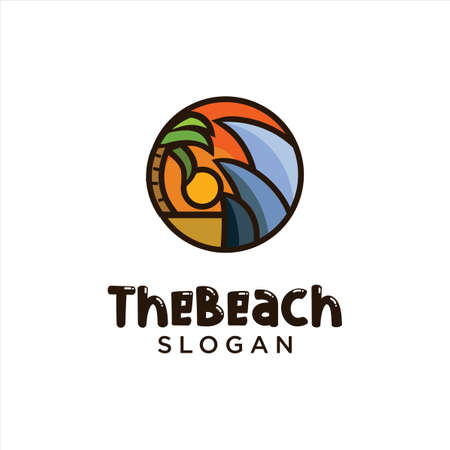 Sun Beach Logo Design Vector. Beach landscape Palm Tree Logo Design Nature. Holiday Logo Design Badge Concept. Vettoriali
