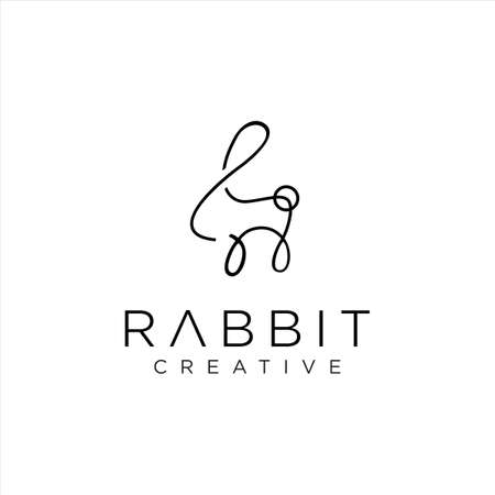 Bunny Logo Line Art Icon Design Template. Rabbit Logo Outline Vector Stock. Unique Animal Logo Monoline