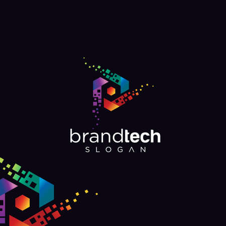 Hexagon Tech Logo Design Vector Stock. Digital Box Cube Tech Logo Design Colorful Template Vettoriali