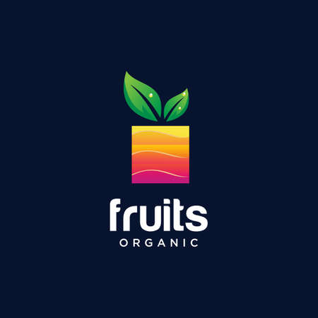 Abstract Fruit Logo Design Nature Organic. Square Fruit Logo Colorful Design Template. ModernFresh Fruit Logo Icon Vettoriali