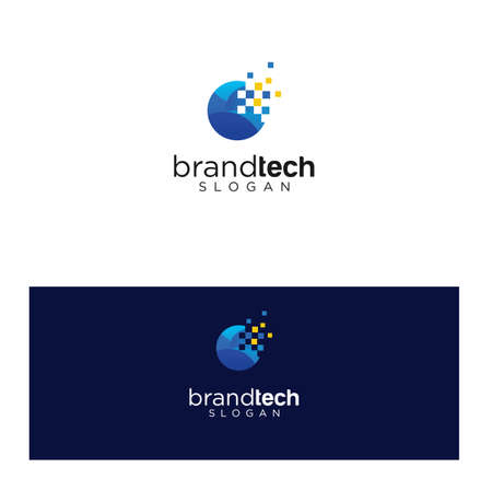 Modern Circle Tech Logo Design Template. Round Tech Digital Technology Logo Design Icon. Initial Letter O tech Logo Design Vector Stock. Ring Tech Logo Vettoriali
