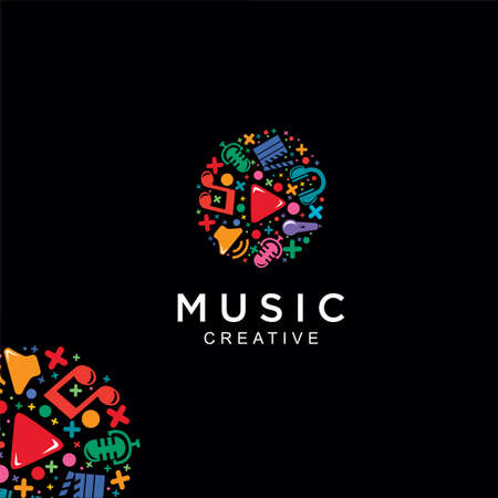 Media Music Logo Colorful Design Vector Stock. Music entertainment Logo Design Pattern Icon