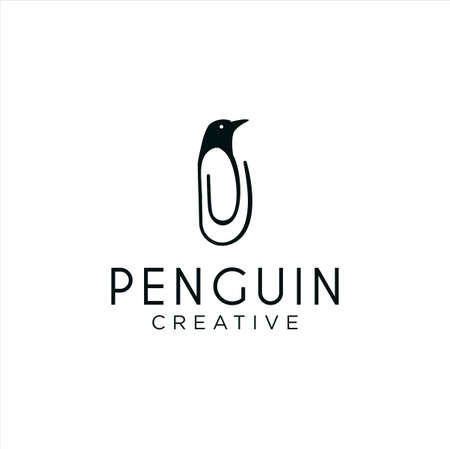Penguin Clip Logo Idea Icon Design Stock Vector. Animal Paper Clips Logo Design Template. Monogram Bird Penguin Logo Line Outline clip