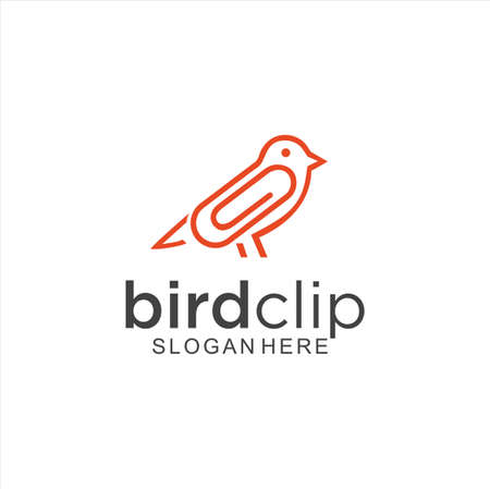 Bird Clip Logo Idea Icon Design Stock Vector. Animal Paper Clips Logo Design Template. Monogram Bird Logo Line Outline clip Vettoriali