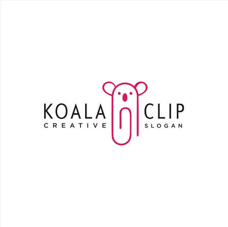 Koala Clip Logo Idea Icon Design Stock Vector. Animal Paper Clips Logo Design Template. Monogram Koala Logo Line Outline clip
