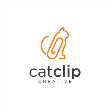 Cat Clip Logo Idea Icon Design Stock Vector. Animal Paper Clips Logo Design Template. Monogram puss Cat Logo Line Outline clip Vettoriali