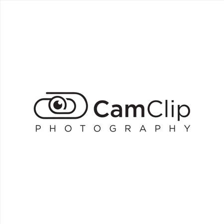 Clip Camera Logo Idea Icon Design Stock Vector. Cam Paper Clips Logo Design Template. Monogram Lens Logo Line Outline clip Simple Black