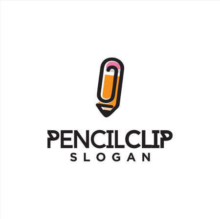 Pencil Clip Logo Logo Idea Icon Design Stock Vector. Pencil Paper Clips Logo Design Template. Education Logo Line Outline clip Simple Vettoriali