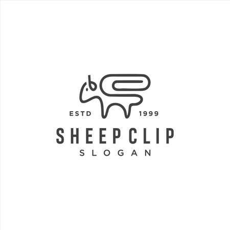 Sheep Clip Logo Idea Icon Design Stock Vector. Animal Paper Clips Logo Design Template. Monogram Goat Logo Angora Line Outline clip. Simple Merino wool Logo Linear