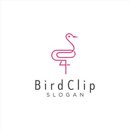 Heron Clip Logo Idea Icon Design Stock Vector. Animal Paper Clips Logo Design Template. Monogram Stork Logo Line Outline clip. Simple Egret Logo Monoline Vettoriali