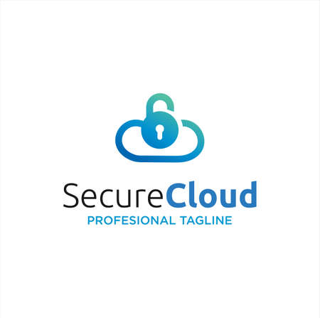 Cloud Lock Logo Icon Design Template. Cloud Security Logo Icon Design. Cloud Key Logo Template. Cloud Secure Logo Access and Data. Vettoriali