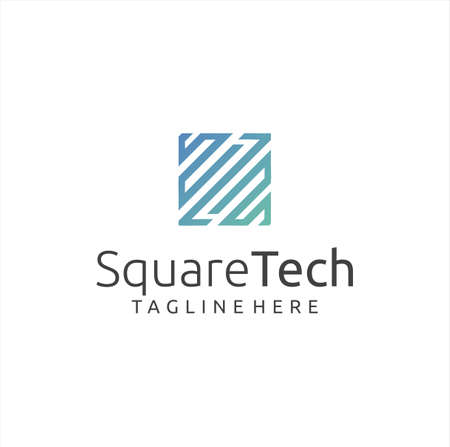 Square Tech Logo Design Stock Vector. Cube Tech Logo Line Design Icon. Box Tech Logo Technology Digital Design Template