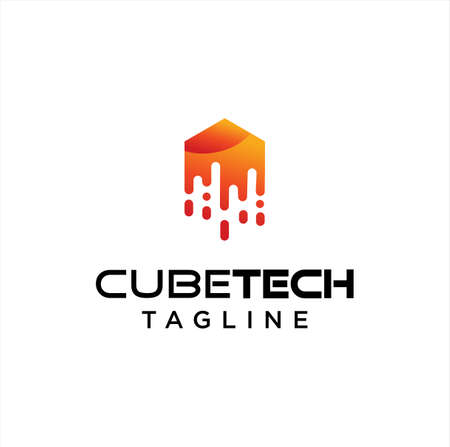 Cube Tech Logo Technology Digital Design Template. Hexagon Tech Logo Design Stock Vector. Box Tech logo Design Icon. fast box logo Design Illustration