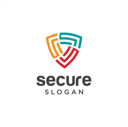 Abstract Secure Logo Design Colorful. Shield Logo Line Art Template. Simple Guard Logo Icon