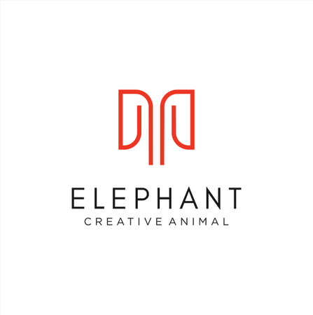 Minimalist Elephant Logo Line Design Abstract Stock Vector. Letter M Elephant Logo Design Icon