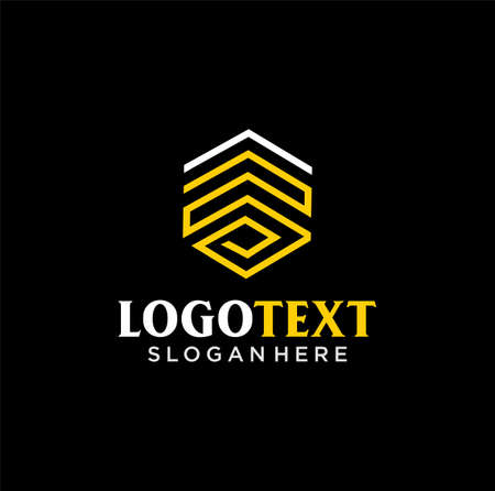 Hexagon Logo Design Outline Linear style. Line Art Cube Logo Design construction Template Abstract. 向量圖像