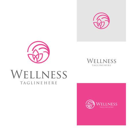 Lotus Wellness Logo Vector Icon . Business spa logo massage healthy design template concept. elegant Lotus flower logo, yoga, and wellness symbol vector