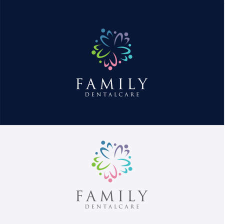 Community group people logo colorful, care. Circle, family culture. Children, concept.Parents and child family characters logo Design Vector Stock