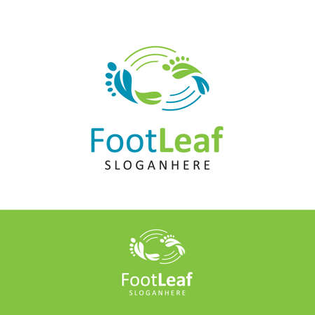 Podiatric Logo Leaf Design Vector Stock. foot print Logo Design Nature. foot care logo design icon. Natural Feet Care Logo Template 向量圖像