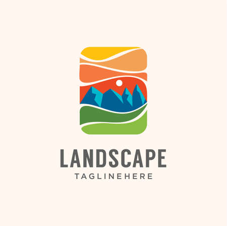 Landscape adventure mountain logo Graphic Vector Stock. Outdoor Peak Adventure Logo sign Template. Hiking Club Expedition Logo Design Template