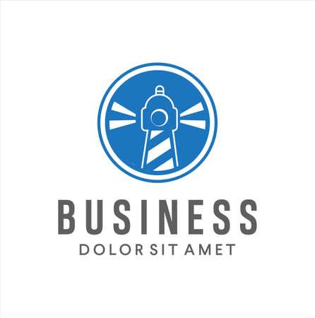 Lighthouse logo icon Design Vector Illustration. Beacon logo design template. Light houses and ocean waves. Coastal beach logo design template.