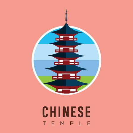 Beautiful travel landmarks chinese temple design vector stock. China Travel and Attraction, Landmarks, Tourism, Traditional Culture And Religion