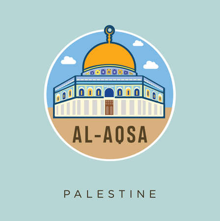 Al - Aqsa Mosque Palestine jerusalem flat Design Vector Stock. Palestine Travel and Attraction, Landmarks, Tourism , Traditional Culture And Religion