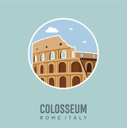 Colosseum In Rome Italy Landmark Design Vector Illustration. Italy Travel and Attraction, Landmarks, Tourism and Traditional Culture Ilustrace