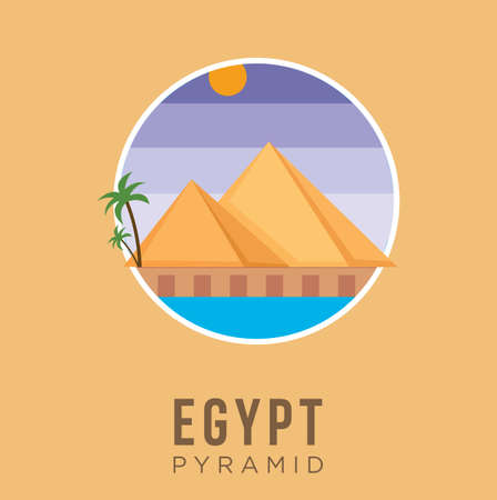 Pyramid of egypt history landmarks cultural design Vector stock illustration. Egypt Travel and Attraction, Landmarks, Tourism , Traditional Culture And Religion