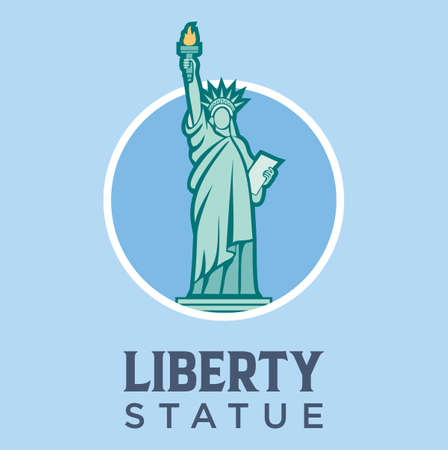 Statue of Liberty Landmark In New York Vector Flat Design Illustration. United States Travel and Attraction , Landmarks And Tourism 矢量图像