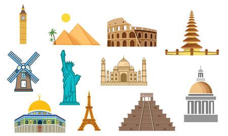 Set of Landmarks and Buildings all Over The World design Vector Stock Illustration Ilustracje wektorowe