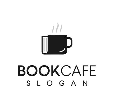 Coffee book logo icon design. Logo is combination of book and a cup of coffee. Suitable for coffee shop, bookstore, library