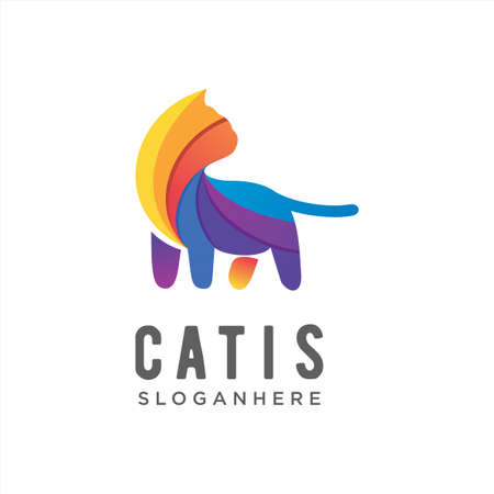 Vector logo illustration cute cat gradient colorful style