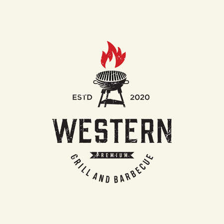 Vintage Grill Barbeque Logo Design Rustic Retro. Grill Bar Design Element in Vintage Style for Logotype, Label, Badge and other design. Fire flame retro vector illustration 矢量图像