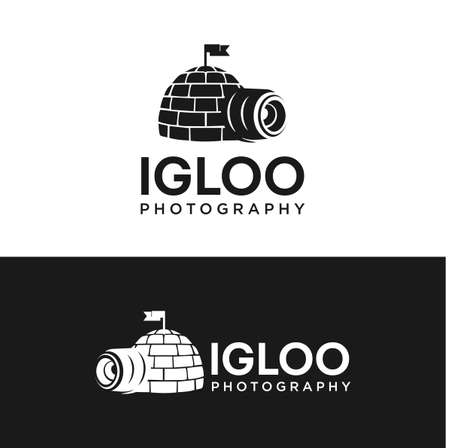 Igloo House With Photography Camera Lens Logo Design Template Vector with a black and white background 矢量图像