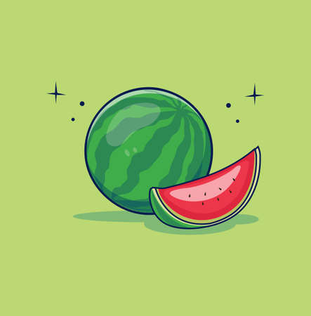 Vector watermelon and slice Flat design illustration
