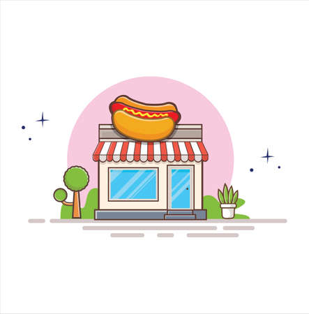 Hot Dog Shop Food Shop. the facade of shop icon in flat style design illustration