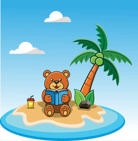 Happy Little Bear reading a book on summer beach island Vector illustration in flat. summer holiday vacation.