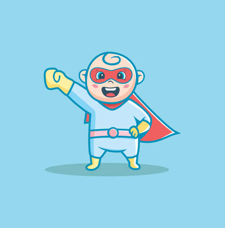 Baby boy in superhero costume Vector Illustration